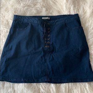 Denim Skirt with lace front detail
